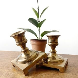 Vintage Brass Short Candlesticks - Set of 2